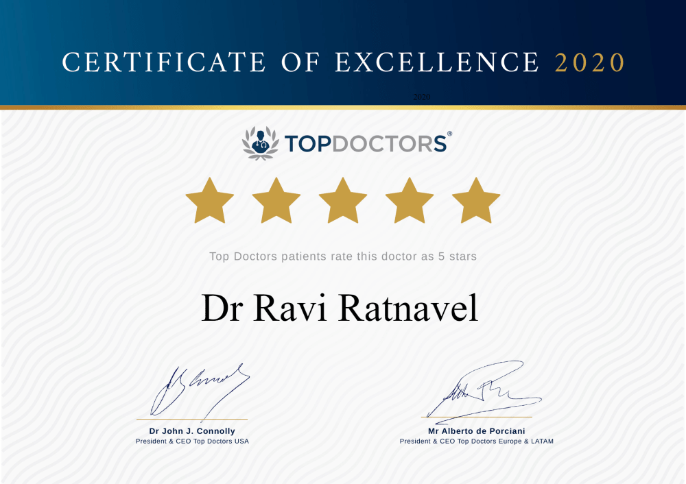 Top Doctors certificate of excellence for Dr Ravi Ratnavel