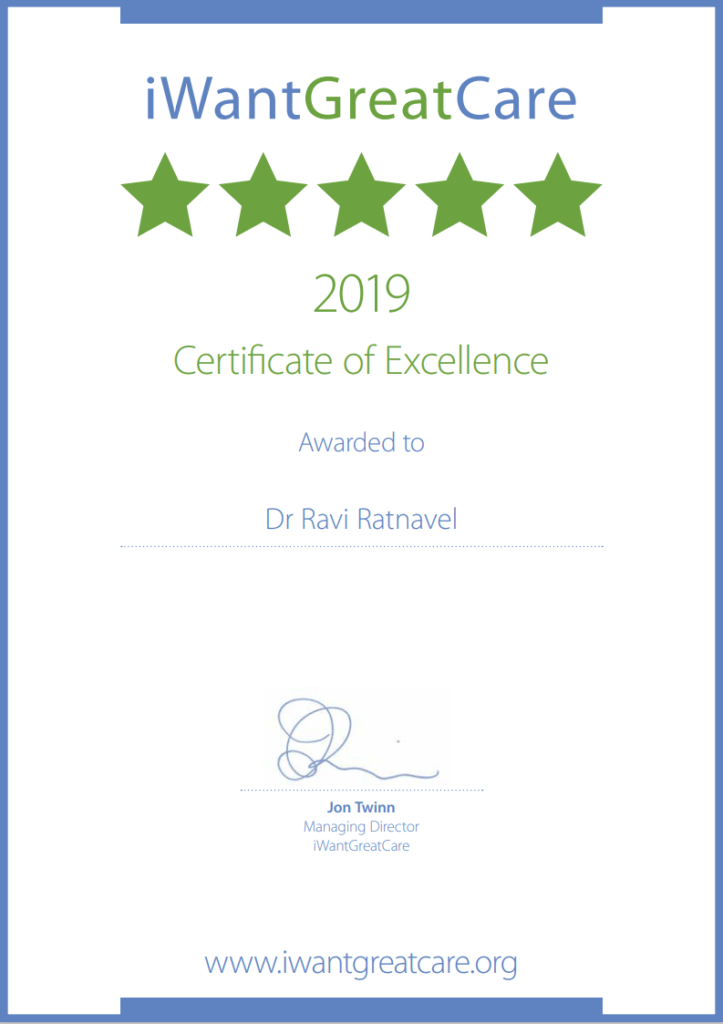 Certificate of Excellence 2019 from iWantGreatCare